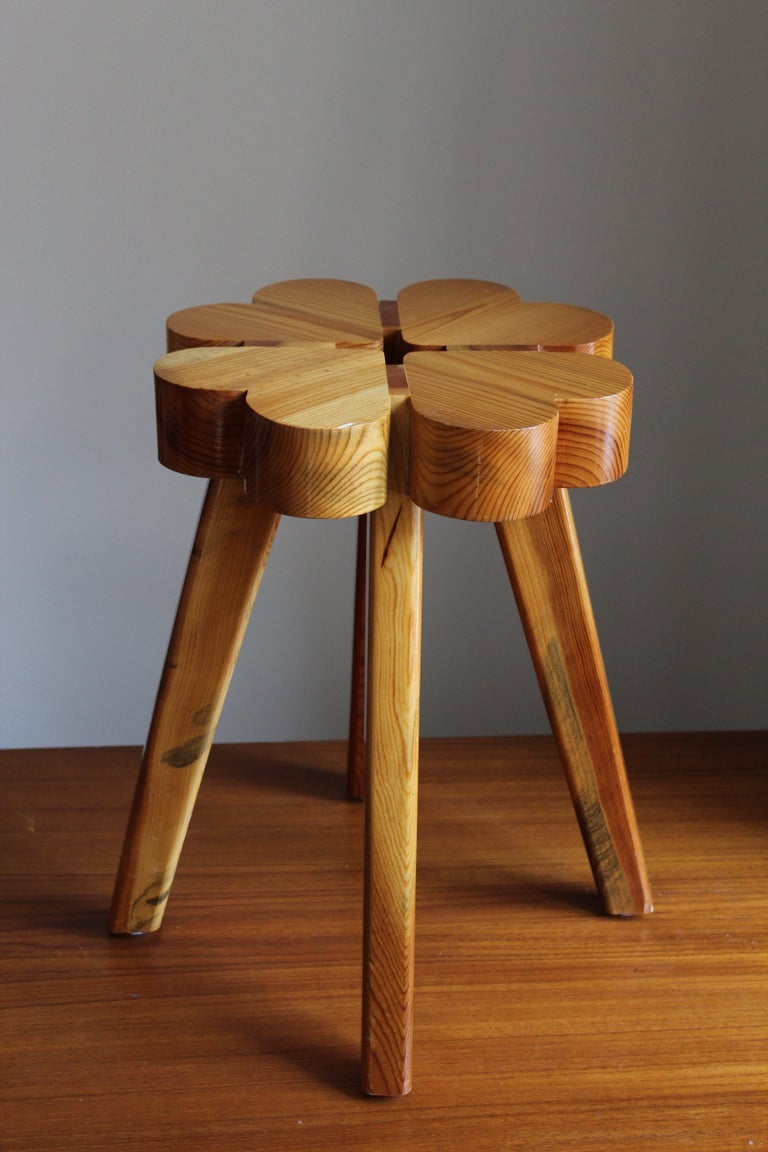 Swedish Designer, Stool, Solid Pine, Sweden, 1970s In Good Condition For Sale In West Palm Beach, FL