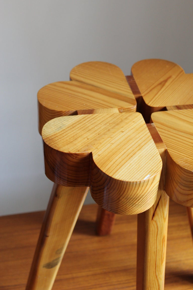 Late 20th Century Swedish Designer, Stool, Solid Pine, Sweden, 1970s For Sale