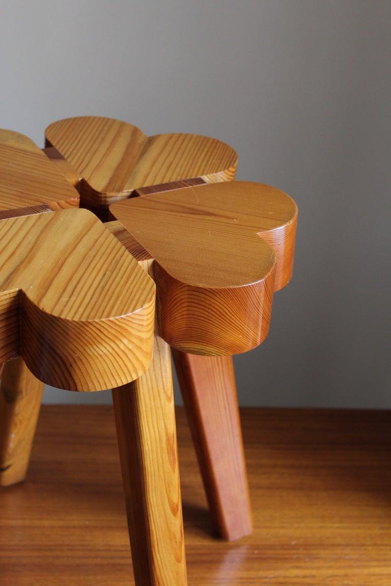 Swedish Designer, Stool, Solid Pine, Sweden, 1970s For Sale 1