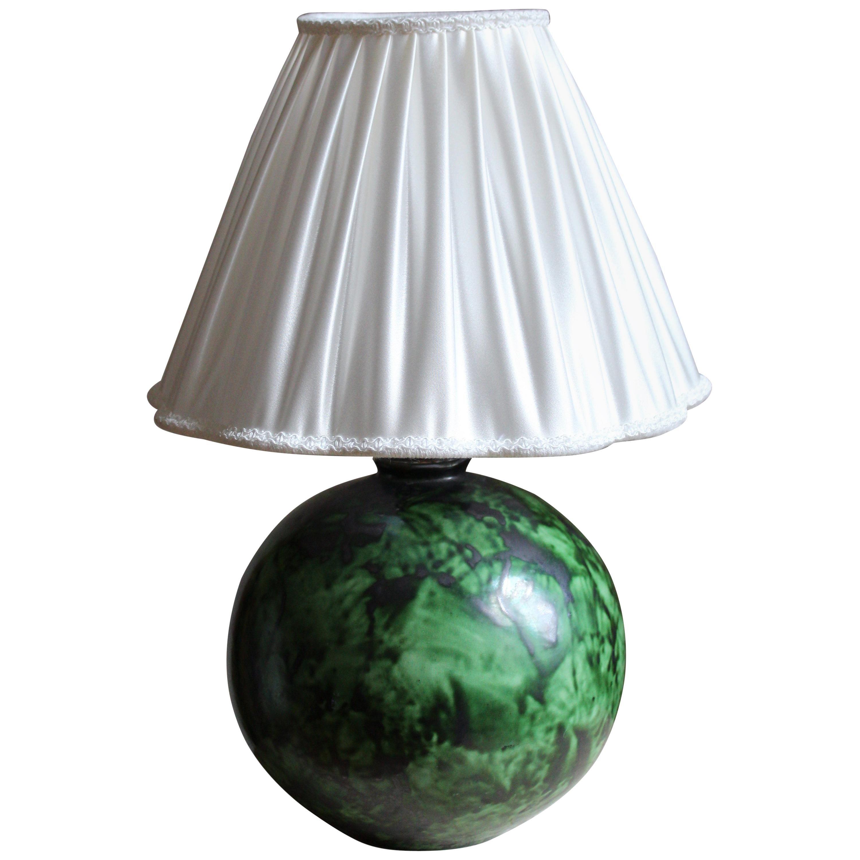 Erik Mornils, Studio Table Lamp, Green Glazed Stoneware, Nittsjö, Sweden 1940s