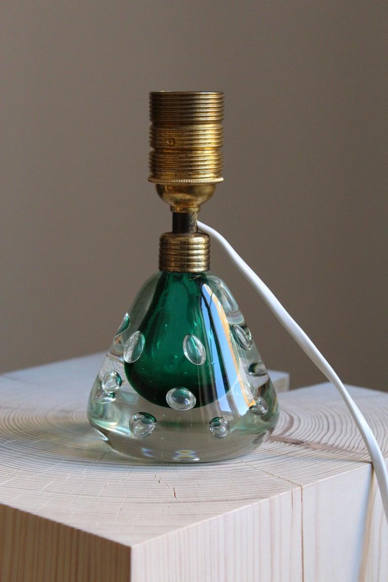 Mid-20th Century Swedish Designer, Table Lamp, Blown Glass, Brass, Linen, Sweden, 1950s