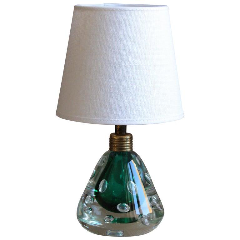 Swedish Designer, Table Lamp, Blown Glass, Brass, Linen, Sweden, 1950s