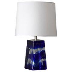 Swedish Designer, Table Lamp, Blue Colored Glass, Sweden, 1960s