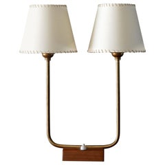 Swedish Designer, Table Lamp, Brass, Stained Wood, White Fabric, Sweden, 1940s