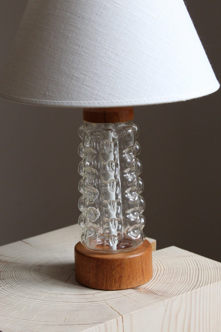 Scandinavian Modern Swedish Designer, Table Lamp, Glass, Teak, Sweden, 1950s For Sale