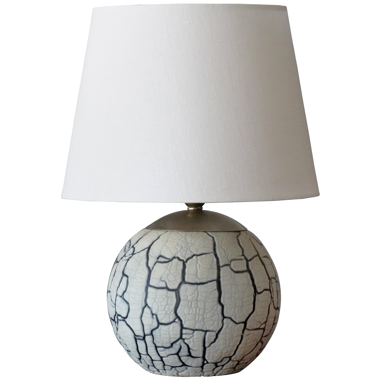 Swedish Designer, Table Lamp, Glazed Stoneware, Metal, Sweden, 1940s