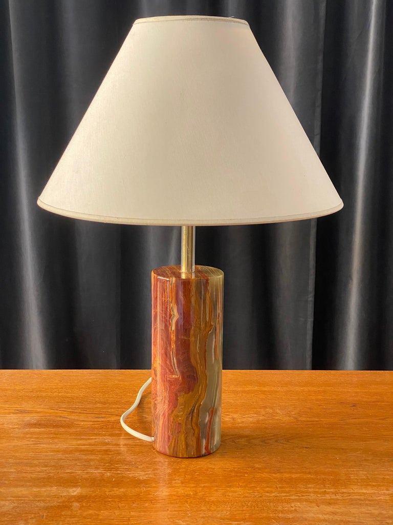 Mid-Century Modern Swedish Designer, Table Lamp, Onyx Gemstone and Brass, 1960s, Sweden For Sale