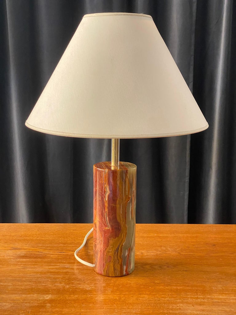 Swedish Designer, Table Lamp, Onyx Gemstone and Brass, 1960s, Sweden In Good Condition For Sale In West Palm Beach, FL