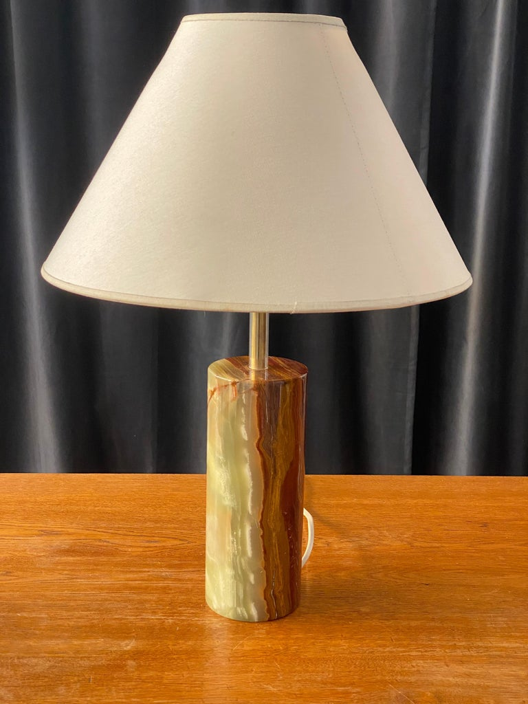 Mid-20th Century Swedish Designer, Table Lamp, Onyx Gemstone and Brass, 1960s, Sweden For Sale