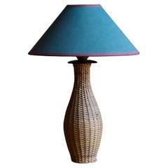 Swedish Designer, Table Lamp, Rattan over Wood, Fabric, Sweden, 1950s