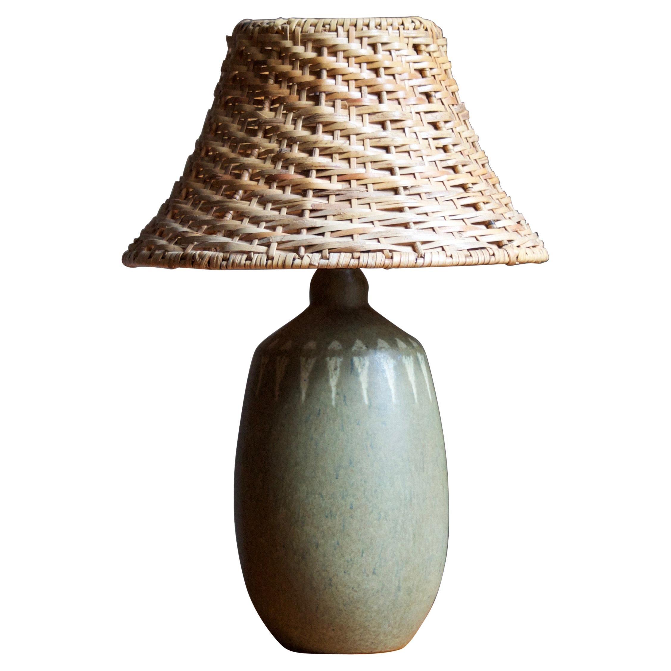 Swedish Designer, Table Lamp, Stoneware, Rattan, Sweden, 1960s