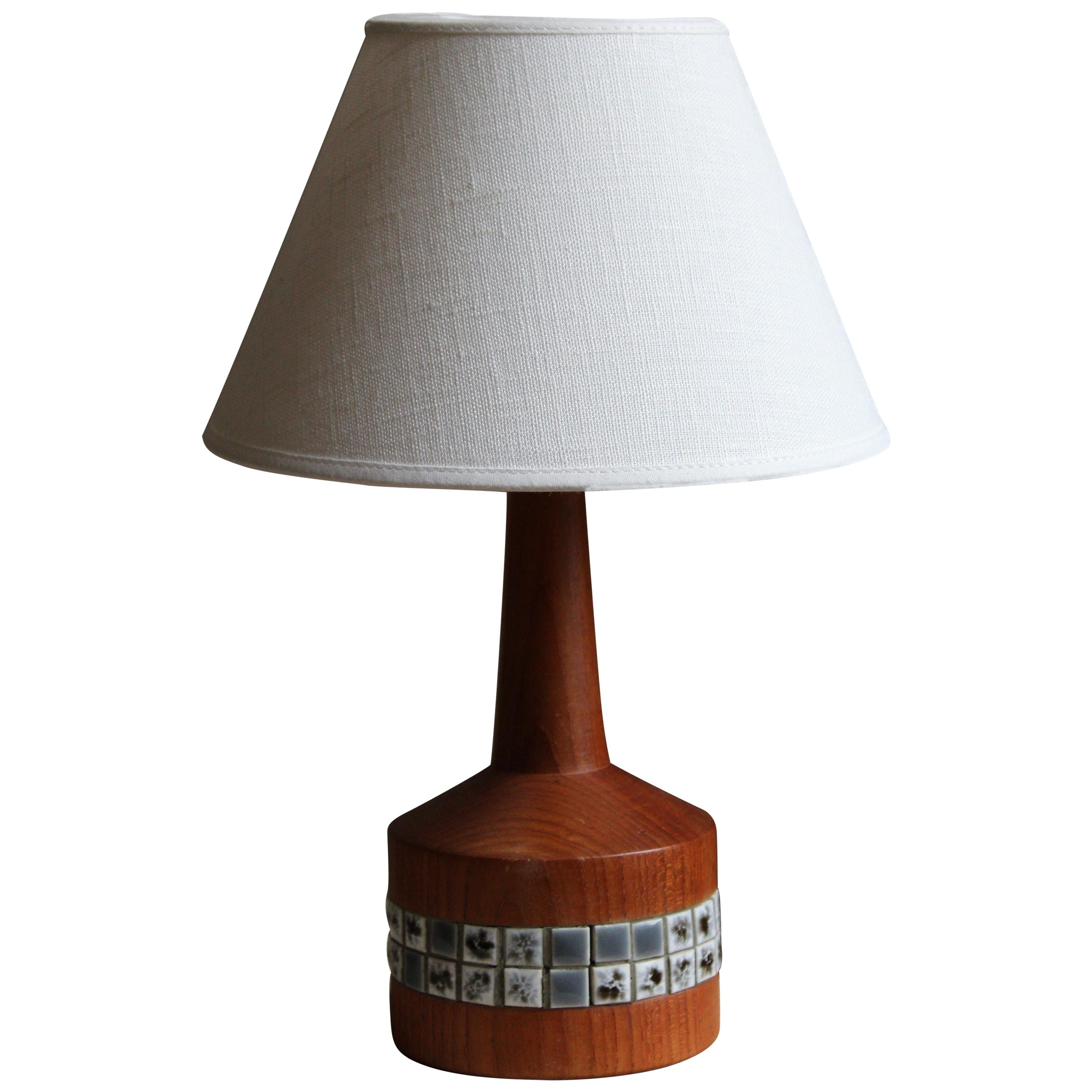 Swedish Designer, Table Lamp, Teak, Ceramic Tile, Linen, Sweden, 1950s