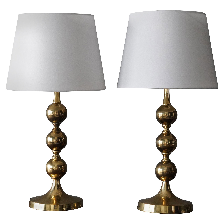 Swedish Designer, Table Lamps, Polished Brass, Sweden, 1970s