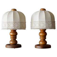 Swedish Designer, Table Lamps, Solid Turned Pine, Fabric Sweden, 1970s