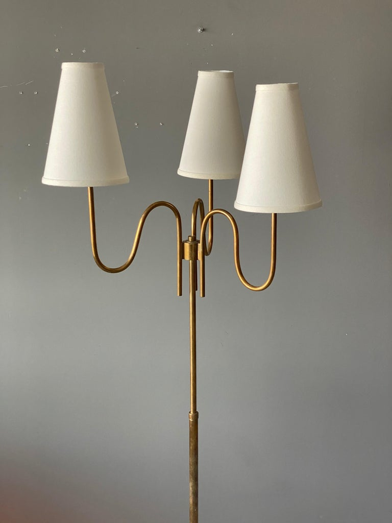 Organic Modern Swedish Designer, Three-Armed Modernist Floor Lamp, Brass, Fabric Sweden, 1940s