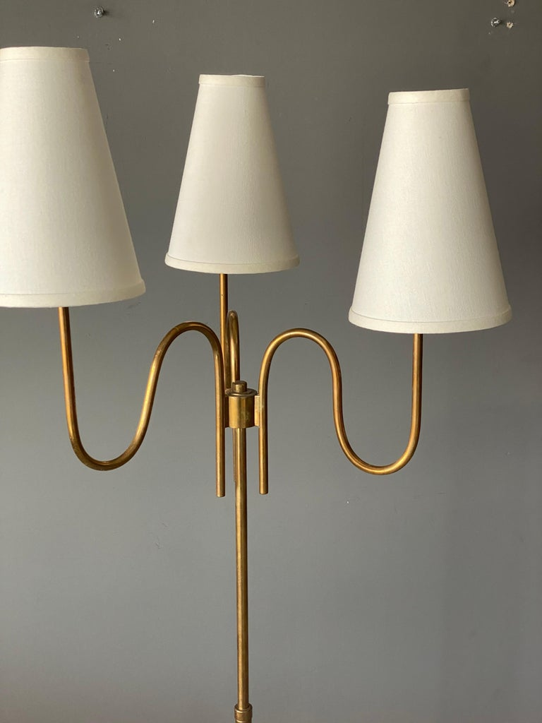 Mid-20th Century Swedish Designer, Three-Armed Modernist Floor Lamp, Brass, Fabric Sweden, 1940s