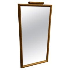 Swedish Designer, Trapezoid-Shaped Mirror, Sportstuge Style, Pine, 1940s Sweden