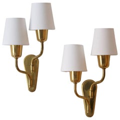 Swedish Designer, Two-Arm Wall Lights / Sconces Brass, Fabric, Sweden, C. 1950s