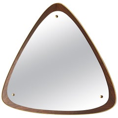 Swedish Designer, Wall Mirror, Rosewood, Brass, Mirror Glass, Sweden, 1950s