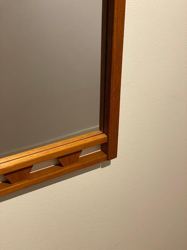 Mid-Century Modern Swedish Designer, Wall Mirror, Stained Oak, 1950s, Sweden For Sale