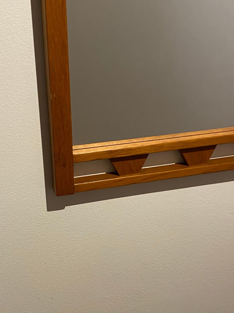Swedish Designer, Wall Mirror, Stained Oak, 1950s, Sweden In Good Condition For Sale In West Palm Beach, FL