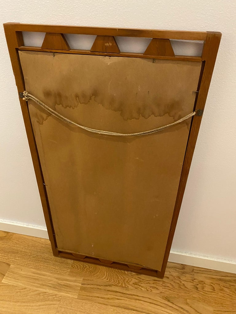 Swedish Designer, Wall Mirror, Stained Oak, 1950s, Sweden For Sale 1