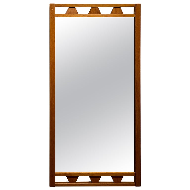 Swedish Designer, Wall Mirror, Stained Oak, 1950s, Sweden For Sale