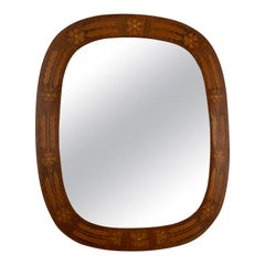 Swedish Designer, Wall Mirror, Wood with Inlays, Mirror Glass, Sweden, 1940s