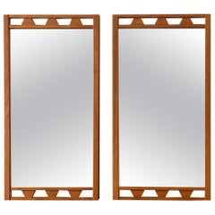 Swedish Designer, Wall Mirrors, Stained Oak, 1950s, Sweden