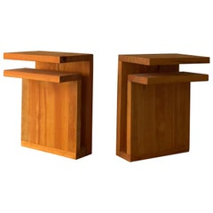 Swedish Designer, Wall-Mounted Minimalist Nightstands, Solid Pine, Sweden, 1970s