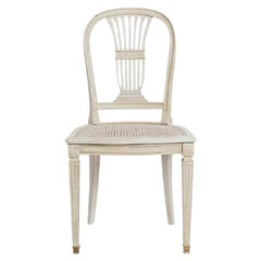 Antique White Gustavian Style Set of Six Dining Chairs