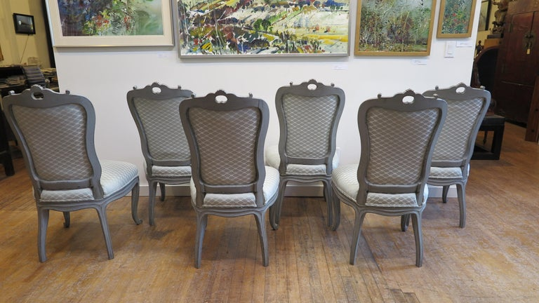 Gustavian Swedish Dining Chairs Set of Six For Sale