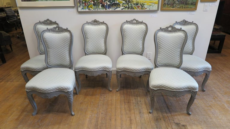 Painted Swedish Dining Chairs Set of Six For Sale