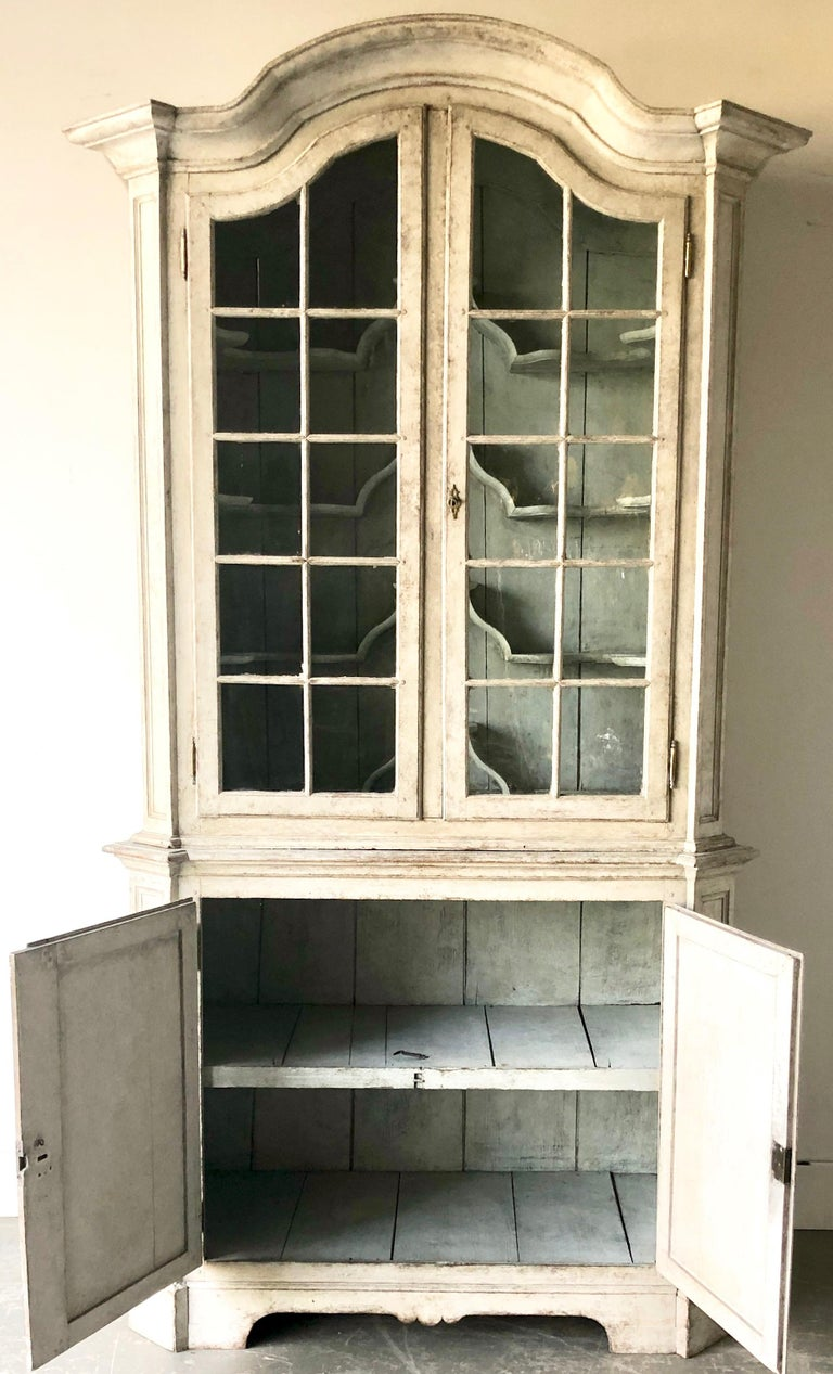 Paint Swedish Early 18th Century Rococo Period Two Part Vitrine Cabinet For Sale