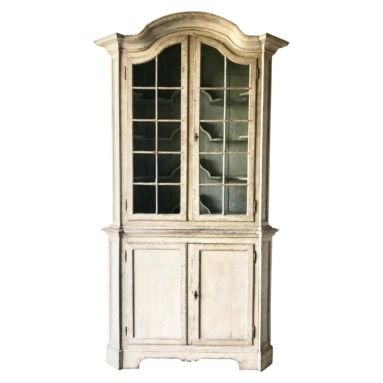 Swedish Early 18th Century Rococo Period Two Part Vitrine Cabinet For Sale