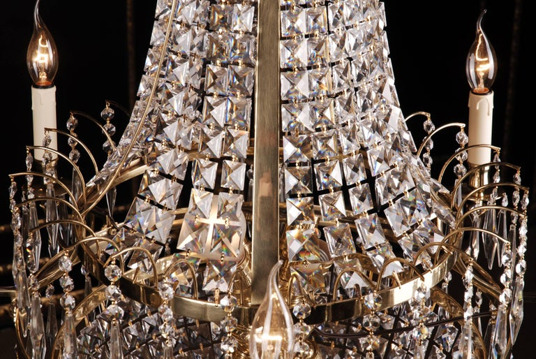German Swedish Empire Ceiling Chandelier in Classicist Style For Sale