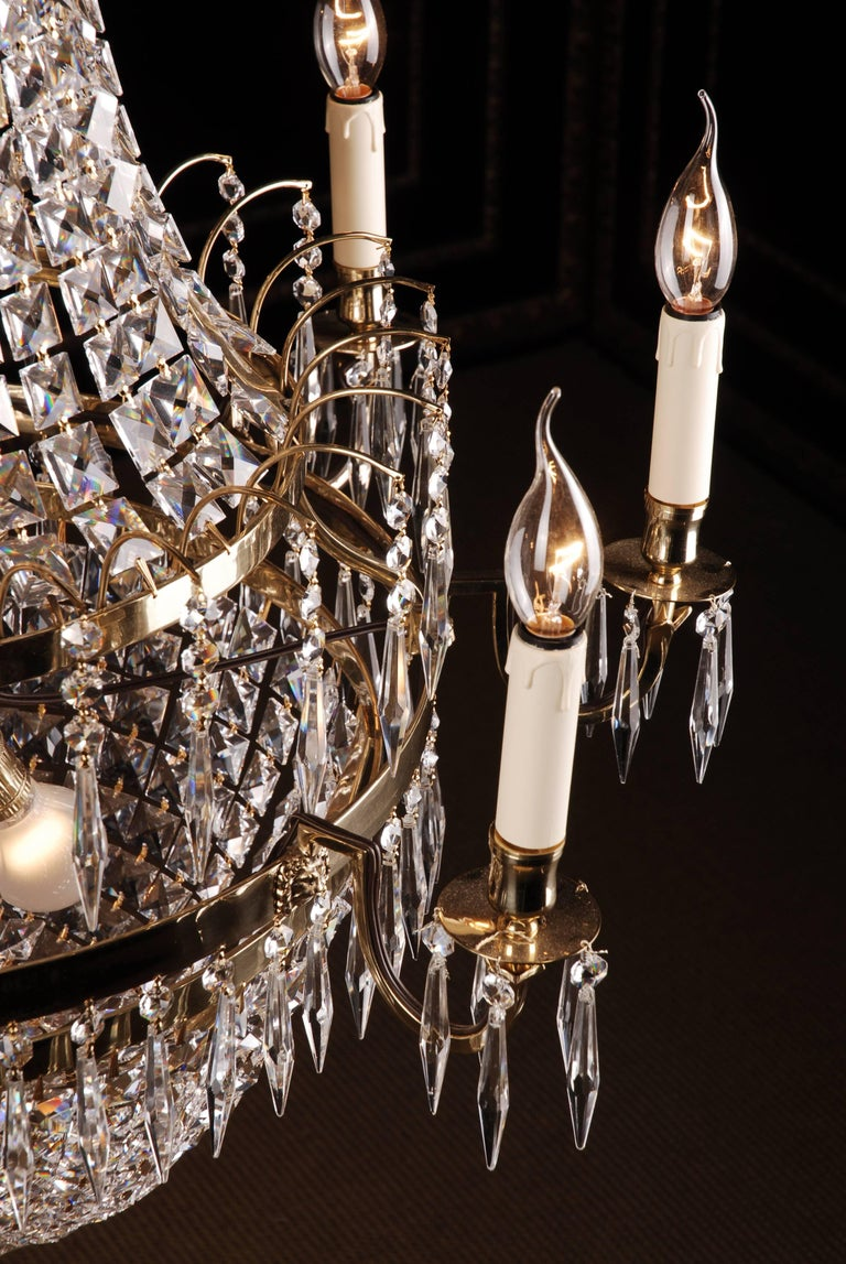 Swedish Empire Ceiling Chandelier in Classicist Style For Sale 2