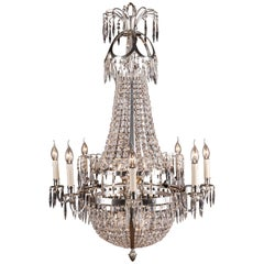 Swedish Empire Ceiling Chandelier in Classicist Style