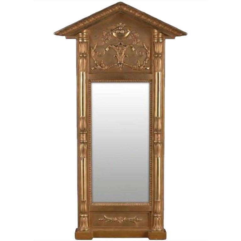 Swedish Empire Gilt Wood Mirror, Early 19th Century