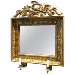 Swedish Empire Mirrored Wall Sconce with Gilded Frame and Carved Decorations