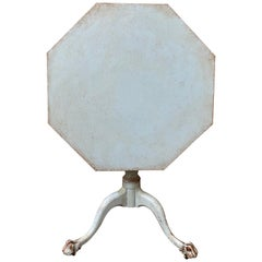 Swedish Empire Octagonal Drop-Leaf Light Blue Painted Table