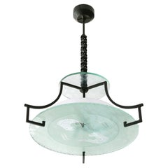 Swedish Etched Glass and Iron Chandelier with Fish and Wave Motif