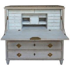 Swedish Fall-Front Writing Desk with Original Gotland Marble Top
