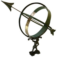 Swedish Figural Mixed Metal Armillary Sculpture
