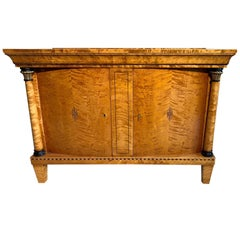 Swedish Flame Birch Biedermeier Sideboard