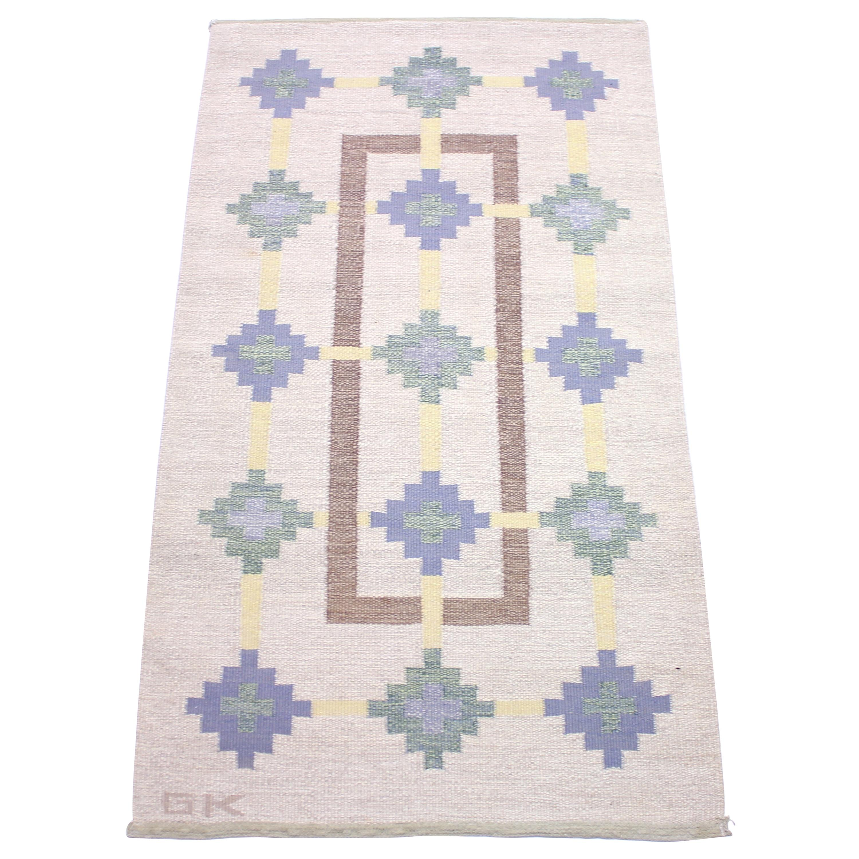 Swedish Flat Weave Röllakan Carpet Signed GK, 1950s