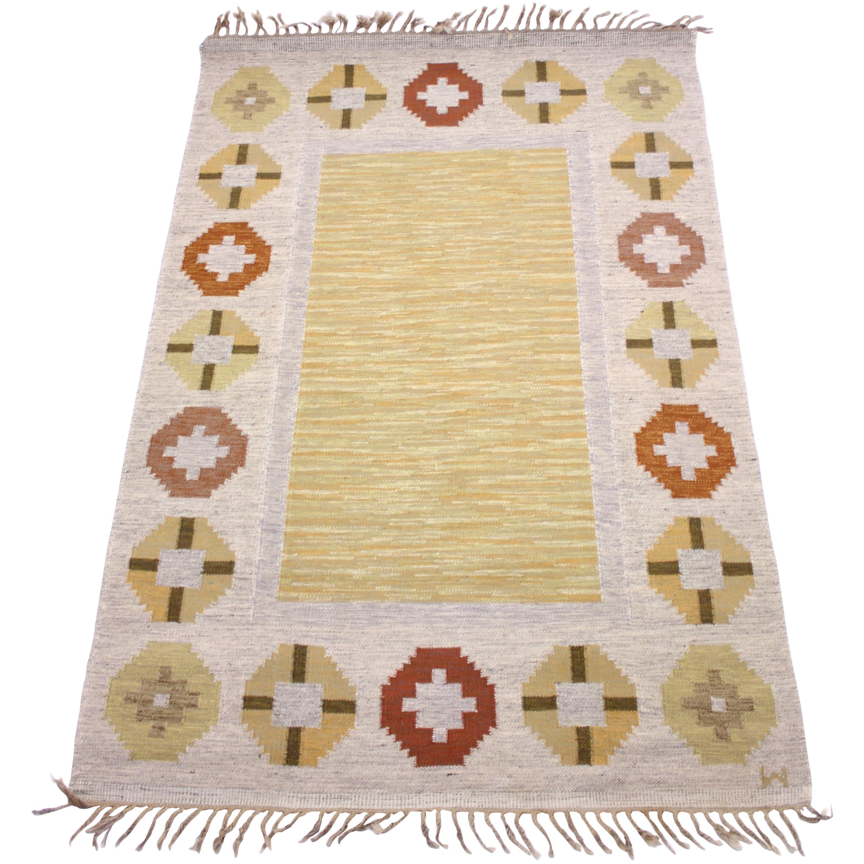Swedish Flat Weave Röllakan Carpet Signed W, 1950s