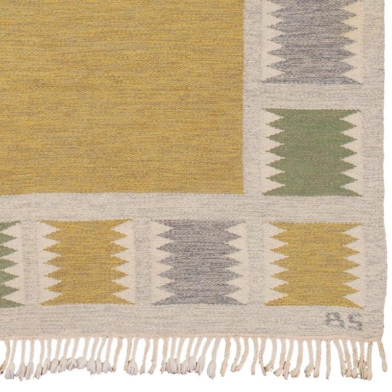 Swedish flat-weave rug Sweden, circa 1940 Handwoven. Initialed: BS (Birgitta Sodergren).