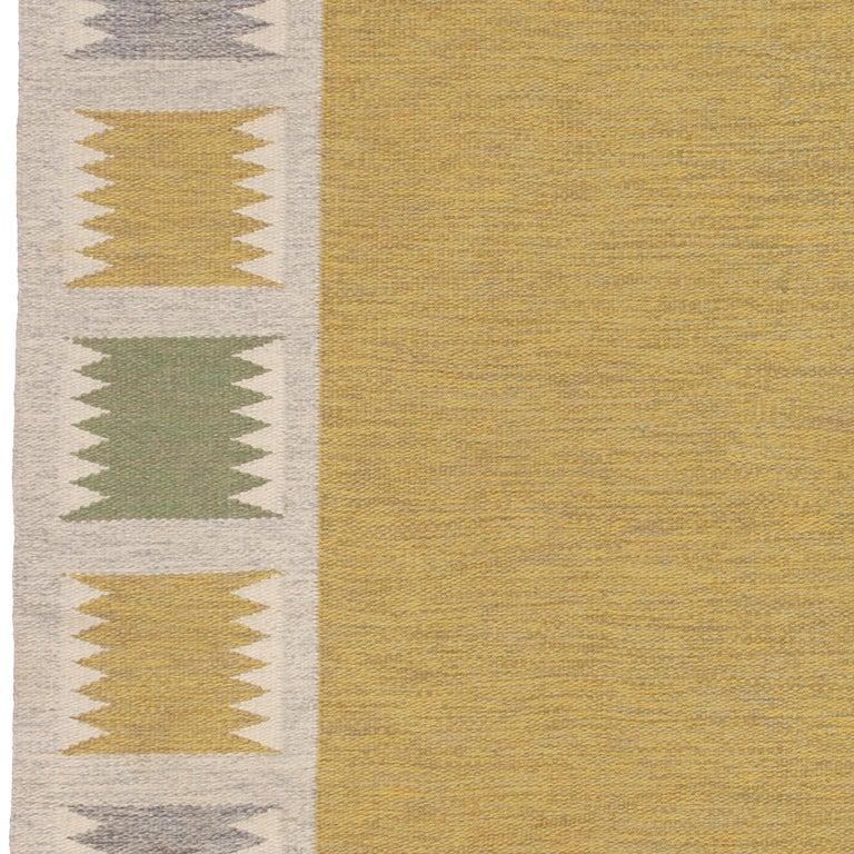 Scandinavian Modern Mid 20th Century Swedish Flat-Weave Rug by Birgitta Sodergren For Sale