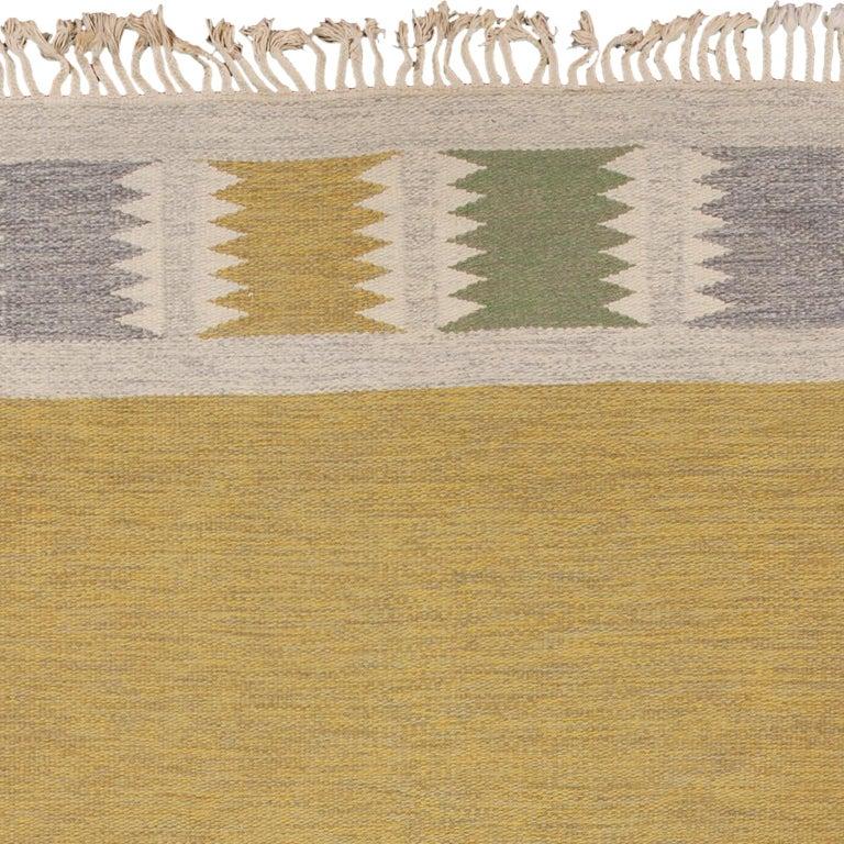 Hand-Woven Mid 20th Century Swedish Flat-Weave Rug by Birgitta Sodergren For Sale